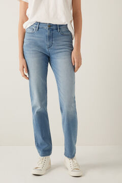 Springfield Sustainable wash recycled cotton straight jeans steel blue