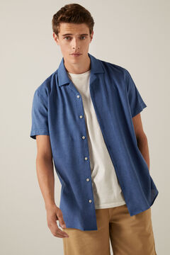Springfield Coloured short-sleeved bowling shirt indigo blue