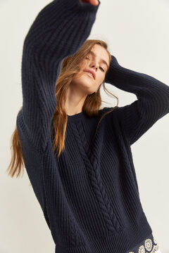 Springfield Navy Cable Knit Jumper blue
