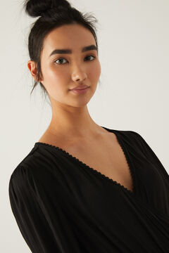 Springfield Crossover neckline midi dress black