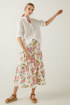 Springfield Sustainable linen midi skirt ecru