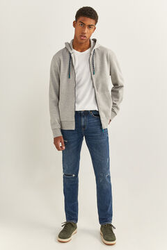 Springfield Jeans slim lavagem média-escura rasgões azulado