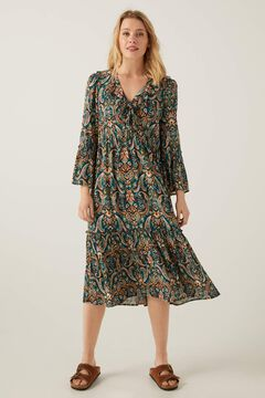Springfield Flounced neckline midi dress oil