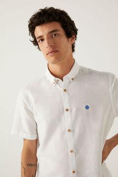 Springfield Camisa manga corta lino blanco