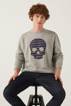 Springfield Sweat-shirt ras du cou tête de mort gris