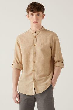 Springfield Camisa lino mao camel claro