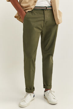Springfield GARMENT-DYED BELTED CHINOS dark gray