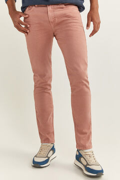 Springfield Slim fit washed 5-pocket trousers pink