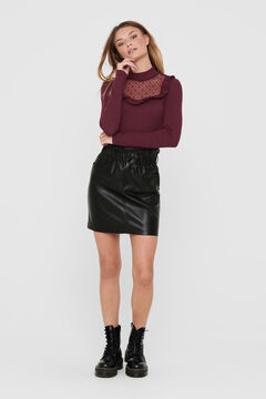 Springfield Leather skirt gathered waist schwarz