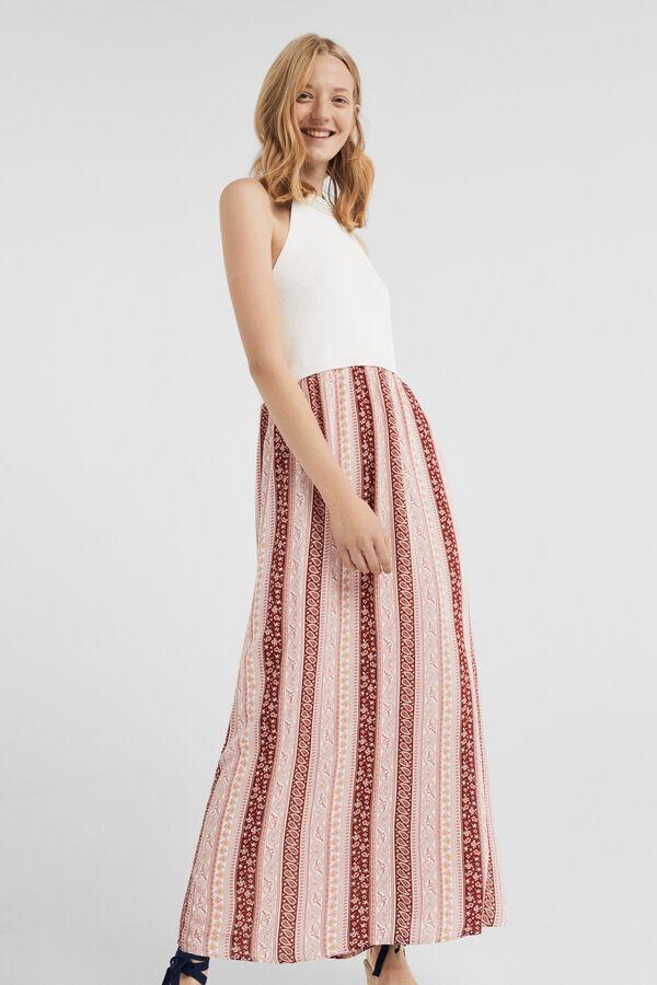 b5de3caea225 Springfield Printed dual fabric boho dress natural