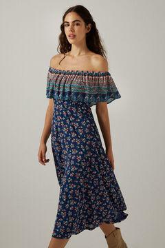 Springfield Off-the-shoulder midi dress indigo blue