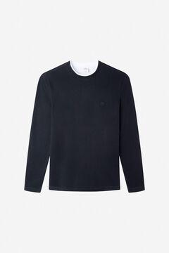 Springfield Long-sleeved piqué T-shirt black