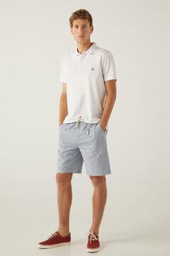 Springfield Striped beach Bermuda shorts with keyring indigo blue