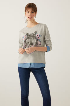 Springfield Two-Material Floral Wolf Sweatshirt grey