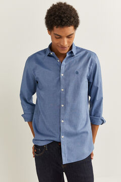 Springfield CHEMISE PINPOINT STRETCH bleu royal