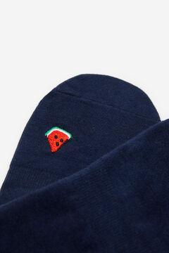 Springfield Embroidered watermelon no-show socks indigo blue