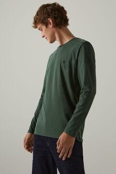 Springfield Camiseta manga larga básica verde oscuro