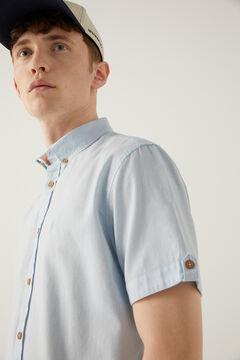 Springfield Coloured dobby short-sleeved shirt blue