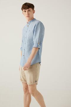 Springfield Camisa lino mao azul acero