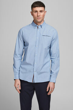 Springfield Printed cotton shirt blue mix