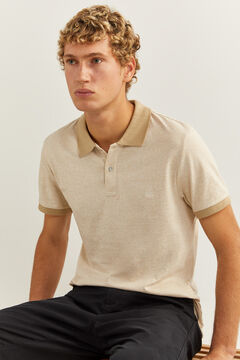 Springfield Micro-striped slim fit jersey polo camel