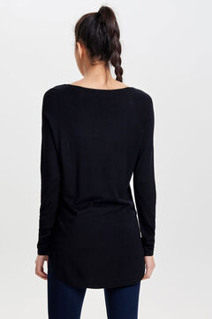 Springfield Long-sleeved round neck jumper fekete