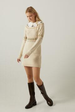 Springfield Wool blend and jacquard dress beige