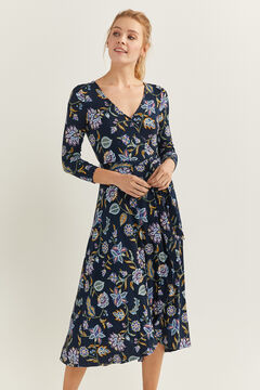 Springfield Printed Midi Crossover Dress indigo blue