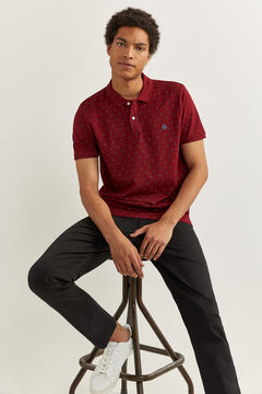 Springfield ESSENTIAL SLIM FIT ALL-OVER POLO SHIRT deep red