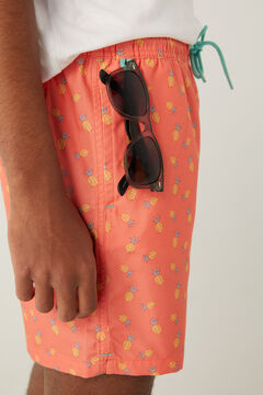 Springfield Pineapple print swimming shorts tan