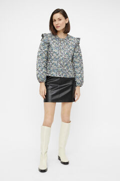 Springfield Short faux leather skirt fekete