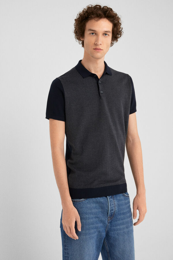 611cb3da5 Springfield Tricot polo shirt with jacquard blue