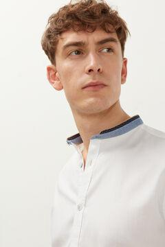 Springfield Dobby short-sleeved mandarin collar shirt white