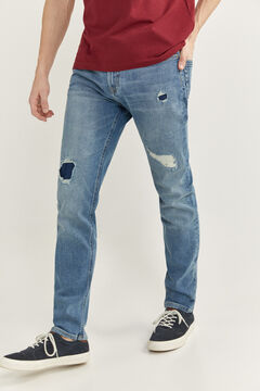 Springfield MEDIUM-LIGHT WASH SLIM FIT JEANS WITH RIPS blue