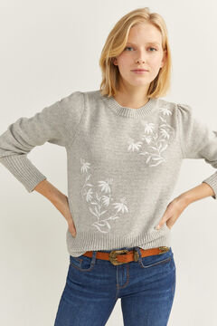 Springfield Pull Fleurs Brodées Blanches demi gris