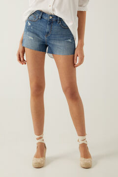 Springfield Short jean déchirures bleu acier