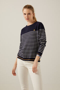 Springfield Two-material organic cotton striped jumper indigo blue