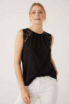 Springfield Sima póló, szegélycsipkés vállakkal fekete