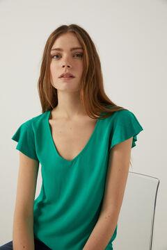 Springfield Camiseta bimateria manga volante verde oscuro
