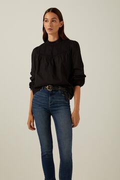 Springfield Romantic lace trim shirt black