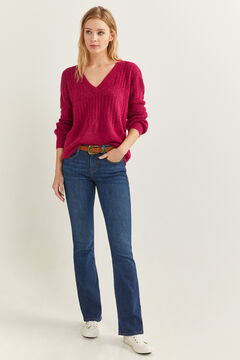Springfield Openwork Puffed Sleeves Jumper red