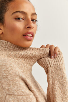 Springfield Two-material Mock Turtleneck Jumper stone