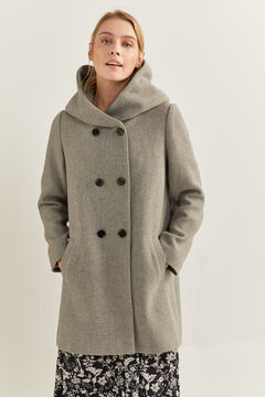 Springfield Hooded Coat Double Buttons  grey