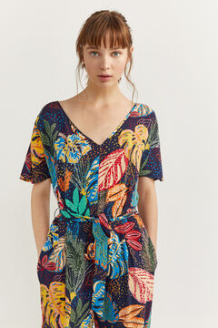 Springfield Long tropical jumpsuit navy mix