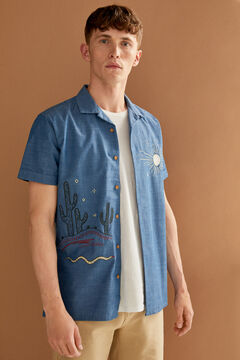 Springfield Embroidered short-sleeved shirt indigo blue