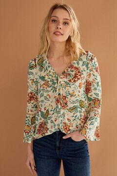 Springfield Printed flounced neckline blouse beige