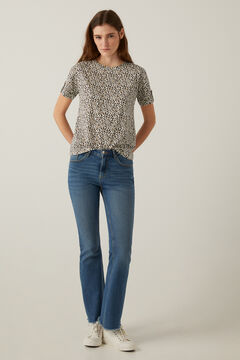 Springfield Printed t-shirt with buttoned sleeves ecru