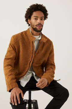 Springfield Faux suede biker jacket camel