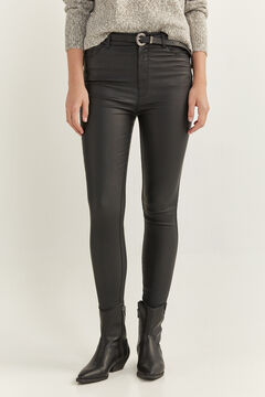 Springfield High Waist Coated Trousers black