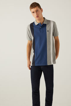 Springfield Horizontal striped polo shirt gray